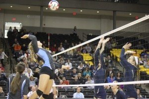 Nicole Mulligan goes for a kill in Warhill's match against Hidden Valley in the Group 3A State Championship on Saturday. (Nicole Trifone/WYDaily)