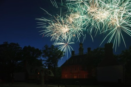 Fireworks behind the Governor's Palace in Colonial Williamsburg (Photo courtesy of the Colonial Williamsburg Foundation)