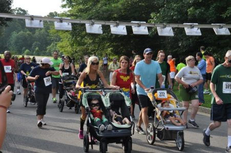 Runners wore superhero costumers for a race held by Child Development Resources (Submitted)