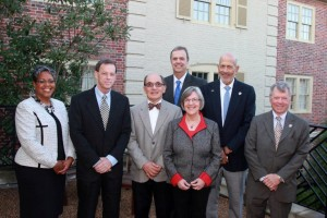 (L-R) Cressondra Conyers, WHF 2014 Annual Awards Committee chair; Jim Elder, 2014 honoree; Reed Nester, 2014 honoree; Doug Myers, WHF board chair; Jeanne Zeidler, WHF president and CEO; Al Albert and Stu Spirn of Virginia Legacy Soccer Club, 2014 honoree (Submitted)