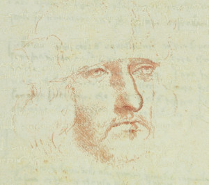 The never-before-exhibited self portrait of Leonardo Da Vinci from his Codex on the Flight of Birds. (Photo courtesy Muscarelle Museum of Art)