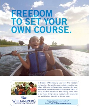This printed ad was featured in the latest edition of the Virginia Travel Guide. Pictured are two members of one of the families featured in WADMC's campaign. (Photo courtesy WADMC)