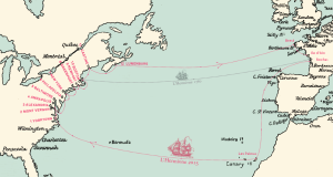 This map shows the Hermione's journey to various ports (Courtesy York County)