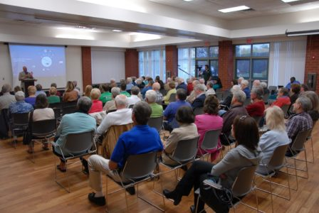 Supervisor Michael Hipple (Powhatan) addresses citizens at an April community meeting at the James City County Recreation Center. (Gregory Connolly/WYDaily)