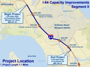 This map from the Hampton Roads Transportation Accountability Commission shows the second phase of a widening of Interstate 64. (Courtesy HRTAC)