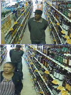 The two people pictured are accused of stealing three bottles of liquor from a York County ABC store. (Courtesy YPSO)