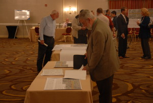 Attendees at a Virginia Department of Transportation public hearing look at plans to widen Interstate 64 from the Lee Hall area to near Water Country USA. (Gregory Connolly/WYDaily)