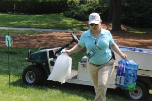 Army Staff Sgt. Kelly Gale delivers ice and water to each hole during a Kingsmill Championship practice round. (Ty Hodges/WYDaily)