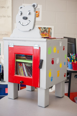 One of the little libraries is in the shape of a bulldog, the Seaford Elementary School mascot. (Courtesy York County School Division)