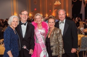 From left to right: Cooks Shaw, Jim Shaw, Renee Bowditch, Rosemary Trible and Paul Trible pose at a Saturday gala at Christopher Newport University to celebrate the 20th anniversary of Lackey Free Clinic.
