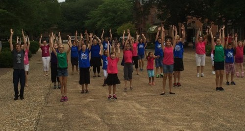 """A group of 40 local kids particpated in a flash mob to Hawk Nelson's """"Sold Out."""""""