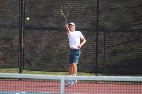 Josh McFadden of York plays a forehand during the Group 3A state semifinal. (Ty Hodges/WYDaily)