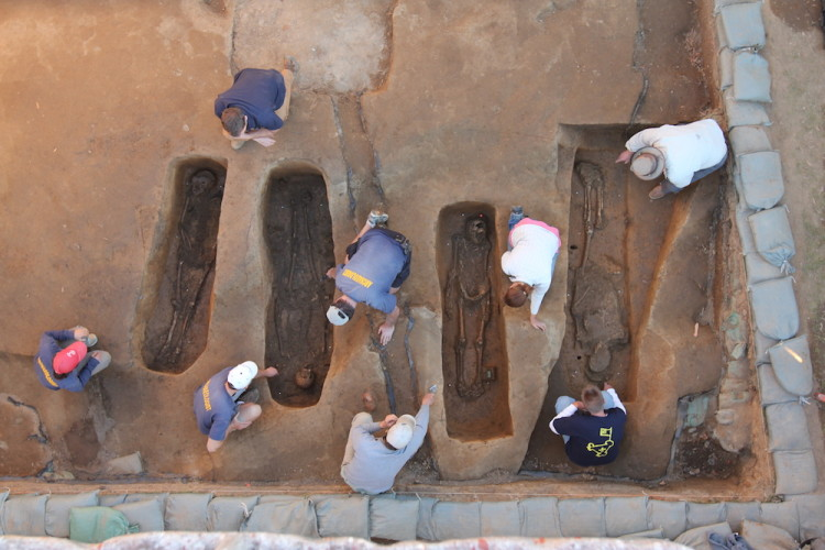Archaeologists from the Jamestown Rediscovery Project work at a site where the bodies of four of the founders of English America were discovered. (Courtesy Jamestown Rediscovery Project)