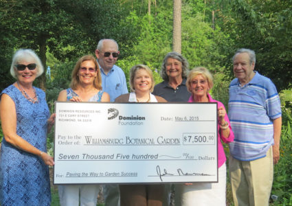 Melanie Rapp Beale represented the Dominion Foundation and presented the check to Williamsburg Botanical Garden board members. From left to right: Peggy Krapf, Joanne Chapman, Dave Banks, Melanie Rapp Beale, Joanne Sheffield, Karen Jamison and Ike Sisane. (Courtesy Williamsburg Botanical Garden)