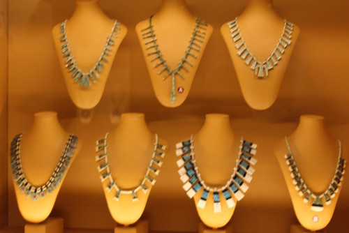 These are examples of more traditional Santo Domingo jewelry made prior to the 1920s.