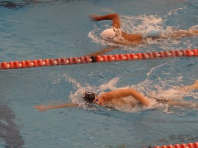 Evan Lynch swims to the wall during a freestyle event. (Submitted)