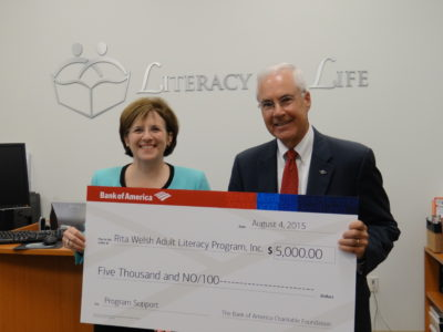 Bank of America presents Literacy for Life with a $5,000 grant to fund its adult literacy education programs. (Courtesy Literacy for Life)