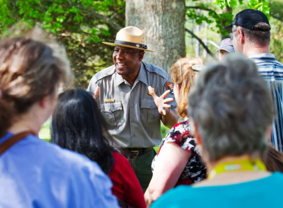 "Bridges also gives guided tours ""in the green and gray""- otherwise known as in his park ranger uniform. (Courtesy Jerome Bridges)"