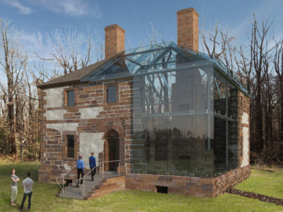 The preservation efforts surrounding the Menokin House involve protecting the ruin of the original house and rebuilding the remainder of the structure with glass. (Courtesy Menokin Foundation)