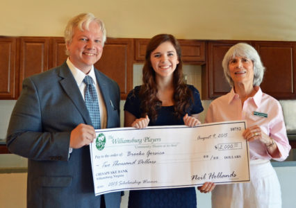 Brooke Corsica of York High School was awarded a $2,000 scholarship from the Williamsburg Players, which she will use to pursue a degree in Theatre from George Mason University. (Courtesy Williamsburg Players)