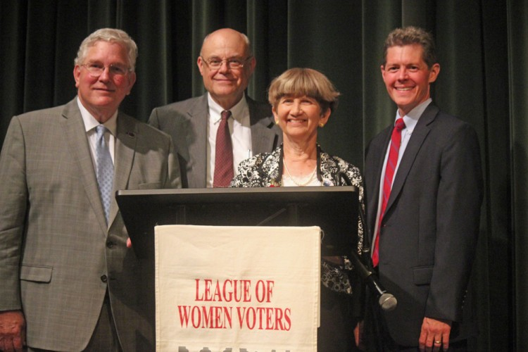 From left to right: State Sen. John Miller, forum moderator John Moorman, League of Women Voters President Linda Rice and candidate Mark Matney. (Nicole Trifone/WYDaily)