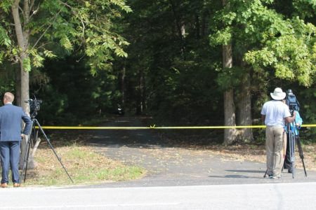 News cameras set up outside the crime scene. (Ty Hodges/WYDaily)