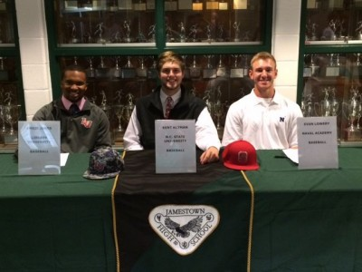 Chris Jones, Kent Klyman and Evan Lowery committed to Division I colleges Wednesday. (Photo courtesy of Jamestown Athletics)