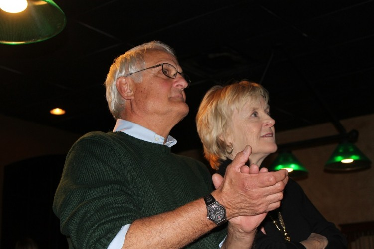 Jim Beers, a retired professor, celebrated his winning bid for the Roberts District seat on the WJCC School Board at Corner Pocket on Tuesday night. (Ty Hodges/WYDaily)