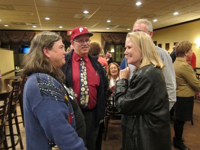 Del. Brenda Pogge (right) celebrates her win in the 96th District at Williamsburg National Golf Club. (Kirsten Petersen/WYDaily)