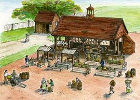 An artist's take on Colonial Williamsburg's new Market House. (Courtesy Colonial Williamsburg)
