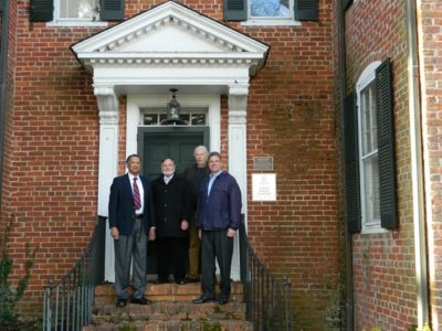 Representatives of the James City County Historical Commission at Amblers, from left: Lafayette Jones, Alain Outlaw, Fred Boelt and Commission Chairman Frank Abbott. (Photo courtesy of JCC)