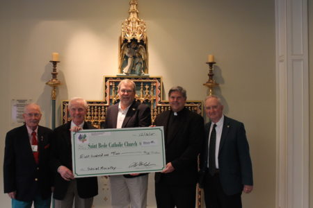 From left to right: Art Conroy, PJ McQuade, Patrick Golden, Monsignor Timothy Keeney and Bill Krantz. (Submitted)