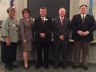 From left to right: Barbara Haywood (Dist. 1), Cindy Kirschke (Dist. 2), Mark Medford (Dist. 3), Page Minter (Dist. 4) and Robbie George (Dist. 5) were sworn in to the York County School Board Dec. 7. (Photo courtesy of YCSD)
