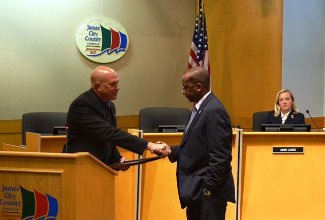 Chairman Michael Hipple recognized James City County Administrator Bryan Hill for his work on the fiscal 2016 budget. (Courtesy of James City County)