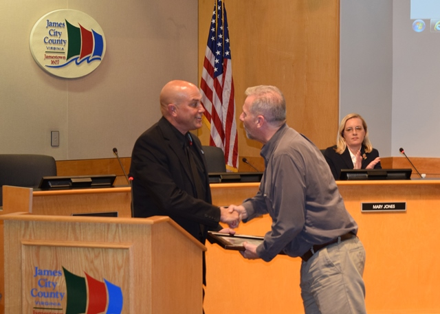 Randy Hisle, the county's video engineer, received the Chairman's Award for his work broadcasting meetings to residents. (Courtesy of James City County)