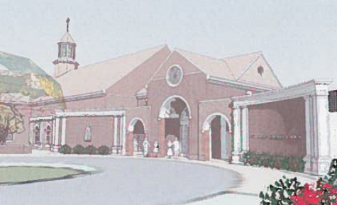 A SUP amendment allowing this traditional facade for St. Olaf Catholic Church in Norge was recommended for approval during the Jan. 6, 2016 Planning Commission meeting. (Image courtesy of JCC)
