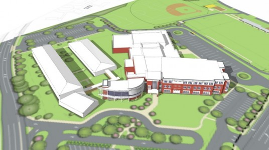 A bird's-eye view of WJCC schools' proposed fourth middle school from the vantage point of Longhill Road at Ironbound Road. (Image courtesy of Waller, Todd & Sadler Architects)