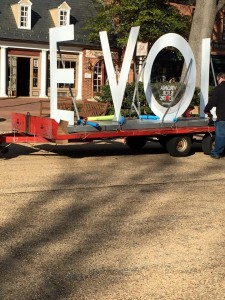 The LOVE letters arrive in Merchants Square. (photo courtesy of Merchants Square)