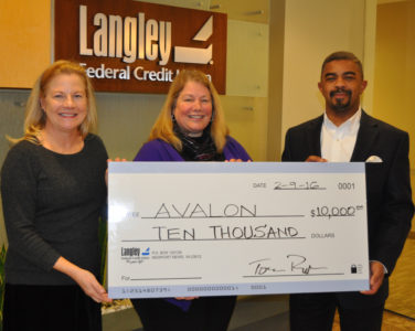 From left to right: Priscilla Caldwell, APR, Avalon Director of Development & Communications; Teresa Christin, CFRE, Avalon Executive Director and Gary Hunter, Langley AVP of Corporate Relations. (Submitted)