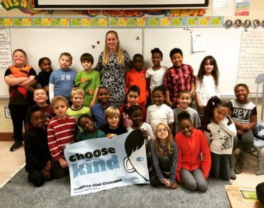 """Mallory Pillsbury's third grade class with its """"Choose Kind"""" banner. (YCSD)"""