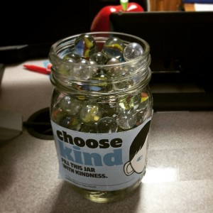 """Mallory Pillsbury's third grade class at Yorktown Elementary School filled this jar with marbles as part of the """"Choose Kind"""" challenge last year. (YCSD)"""