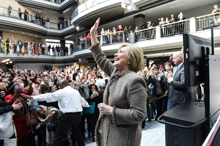 Former Secretary of State Hillary Clinton celebrates her Super Tuesday victories. (Courtesy of the Hillary Clinton Campaign)