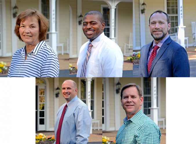(From left to right, clockwise): The new Hospice House Board of DIrector members are: Carolyn Cuthrell, Michael Gaten, Dr. John Miller, Scott Ramer, Brett Smith. (Courtesy of Hospice House)