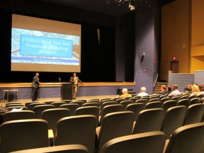 JCC County Administrator Bryan Hill and Board of Supervisors Chairman Michael Hipple (Powhatan) speak to a group of residents, elected officials and county staff at the first community meeting for the Fiscal 2017 operating budget April 7, 2016. (Kirsten Petersen/ WYDaily)