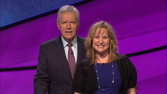 """Nicole Throckmorton, a Warhill High School English teacher, with Alex Trebek during the filming of her """"Jeopardy!"""" episode Feb. 24, 2016. (Jeopardy!)"""