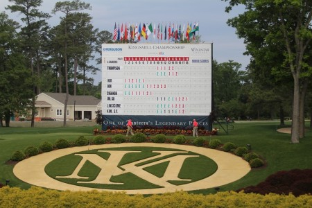 The scoreboard overlooking the 18th green is one of the most iconic parts of the course.