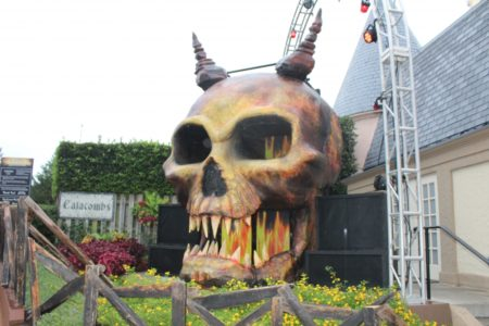 At nightfall during Howl-O-Scream a Demon D.J. takes the stage atop a giant skull. (Elizabeth Hornsby/WYDaily)
