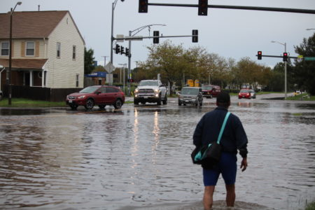 Flooding hit almost three feet near Lynnhaven and Pleasant Valley Road in Virginia Beach last week. (Kate Mishkin/Southside Daily)