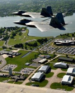 F-22 Raptors from Langley Air Force Base fly over the installation. (Photo courtesy U.S. Air Force)