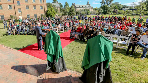 Hundreds of alumni, students, faculty, staff and administrators gathered on Jamestown Field Saturday for the dedication ceremony. (Photo by Skip Rowland '83)